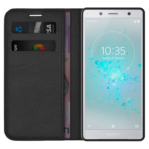 Leather Wallet Case & Card Holder Pouch for Sony Xperia XZ2 Compact - Black